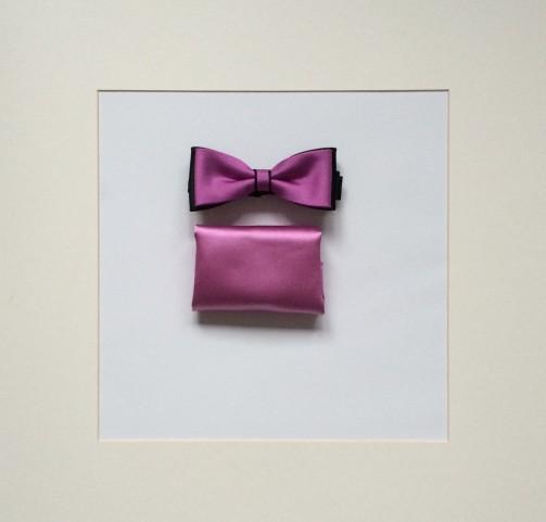 Set Fliege & Pochette Uni Rose