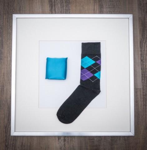 Set Pochette Uni Wasserblau & Socken Schottenkaro