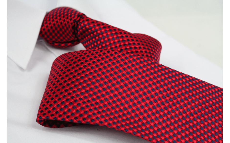 Krawatte Karo Feuerrot/Schwarzblau