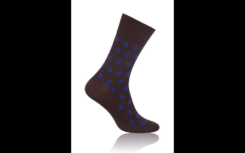 Socken Raute Braun mit Blau