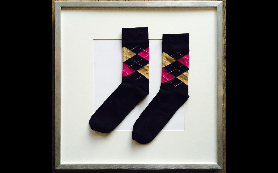 Socken Schottenkaro Schwarz-Beige-Pink