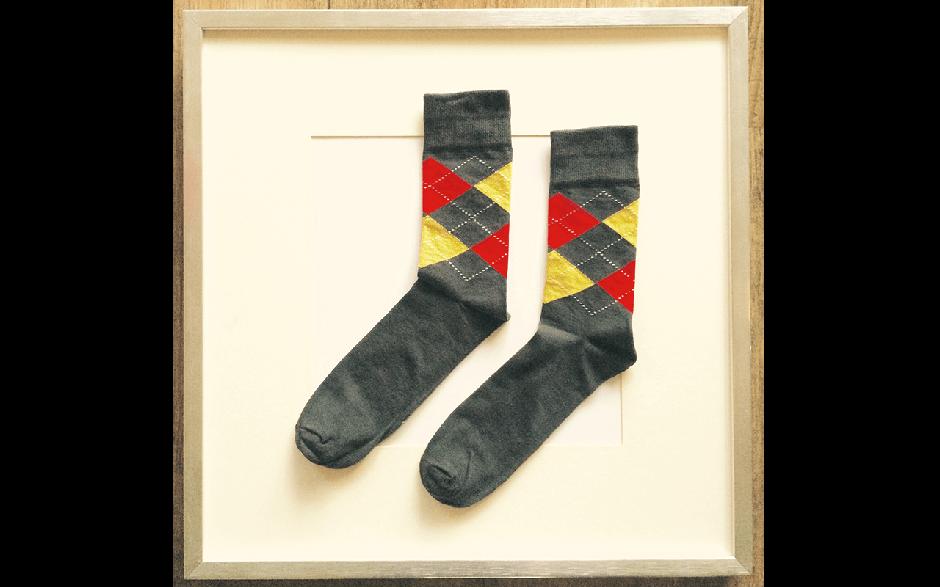 Socken Schottenkaro Grau-Rot-Gelb
