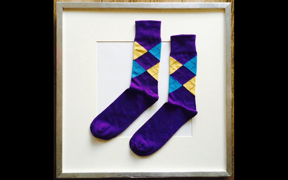 Socken Schottenkaro Violett-Blau-Gelb