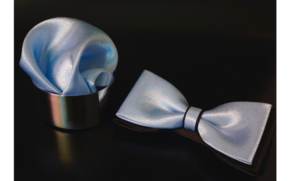 Set Fliege & Pochette Uni Pastelblau