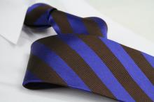 Krawatte Streifen Mahagonibraun/Kobaltblau