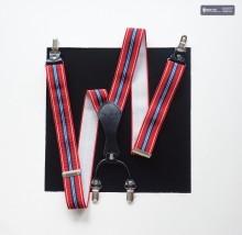 Hosenträger Streifen Violettrot / Schwarzblau