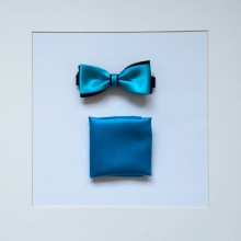 Set Fliege & Pochette Uni Wasserblau