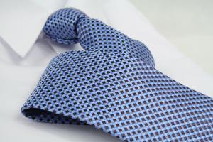 Krawatte Karo Pastelblau/Mahagonibraun