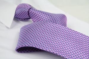 Krawatte Karo Pastelblau/Rotlila/Rosé