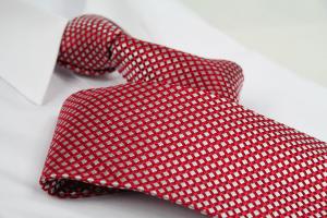 Krawatte Karo Quarzgrau/Feuerrot