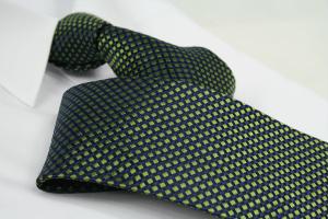 Krawatte Karo Tiefschwarz/Maigrün