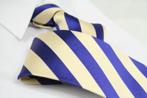 Krawatte Streifen Elfenbein/Kobaltblau