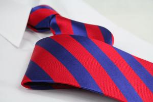 Krawatte Streifen Feuerrot/Kobaltblau