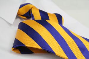 Krawatte Streifen Kobaltblau/Goldgelb
