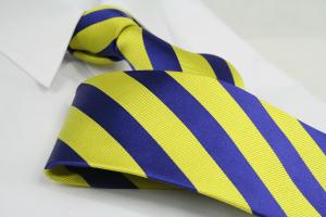 Krawatte Streifen Kobaltblau/Schwefelgelb