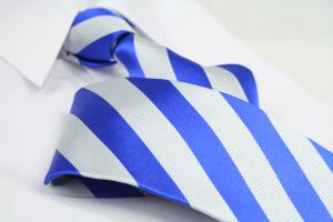 Krawatte Streifen Royalblau/Seidengrau