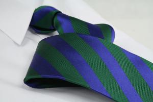 Krawatte Streifen Tannengrün/Kobaltblau