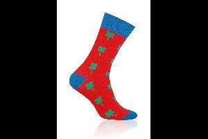 Socken Klee Grün auf Rot