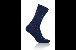 Socken Punkte Blau-Rot