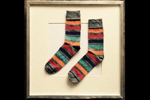 Socken Streifen Grau-Orange-Blau