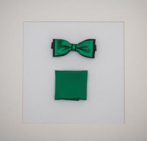 Set Fliege & Pochette Uni Laubgrün