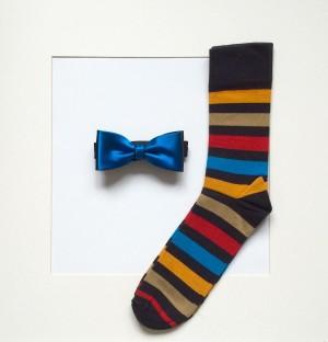 Set Fliege Uni Blaugrün & Socken Streifen