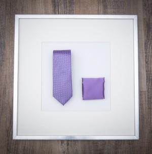 Set Krawatte Karo & Pochette Uni Rotlila
