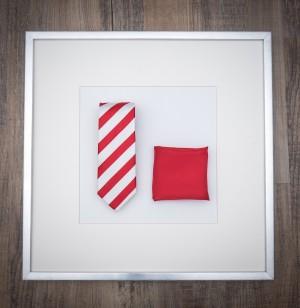 Set Krawatte Streifen & Pochette Uni Feuerrot