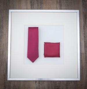 Set Krawatte & Pochette Uni Feuerrot