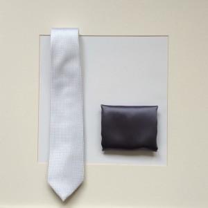 Set Krawatte & Pochette Uni Schwarzgrau