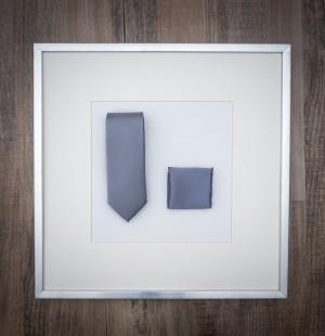 Set Krawatte & Pochette Uni Silbergrau
