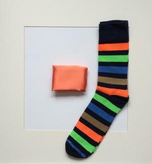 Set Pochette Uni Reinorange & Socken Streifen